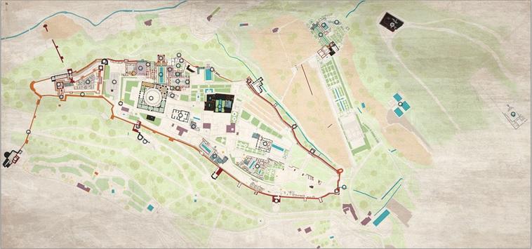 plano de la Alhambra con los puntos de la visita virtual fotográfica